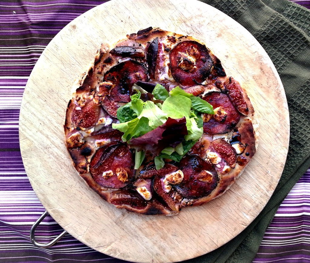 fig and salami flat bread