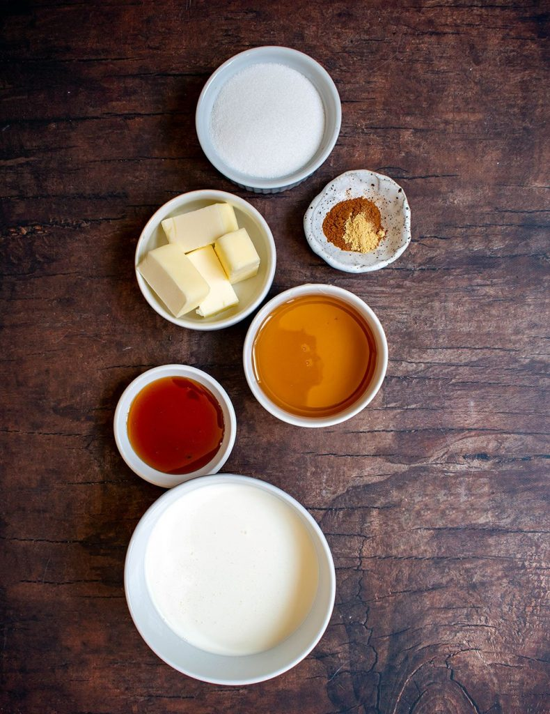 ingredients for the caramels
