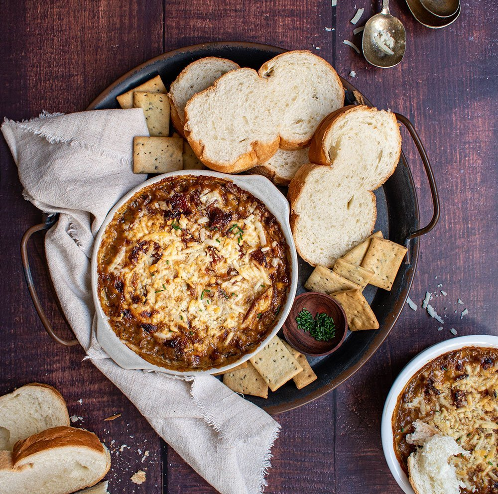 caramelized onion bacon and gruyere dip