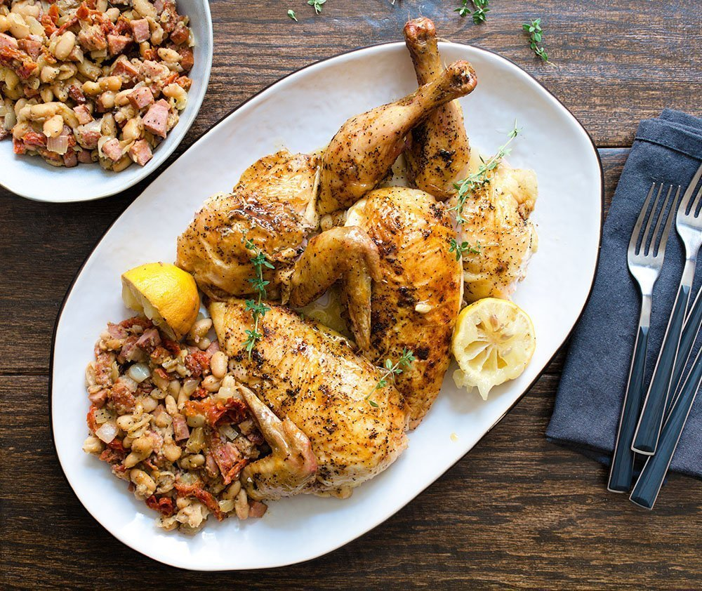 roasted chicken with chorizo stuffing