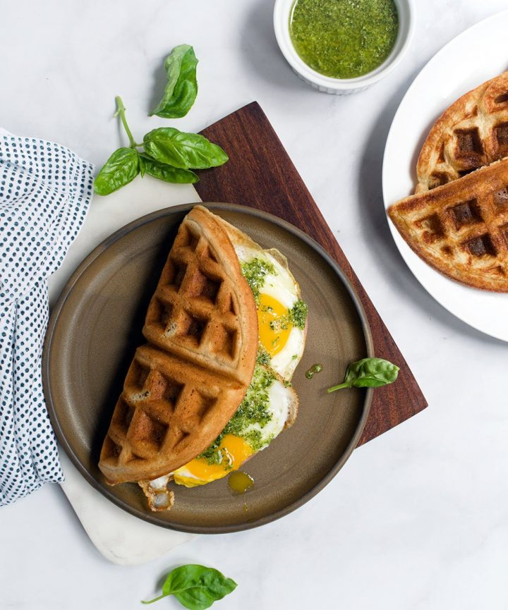 green eggs and bacon waffle sandwich
