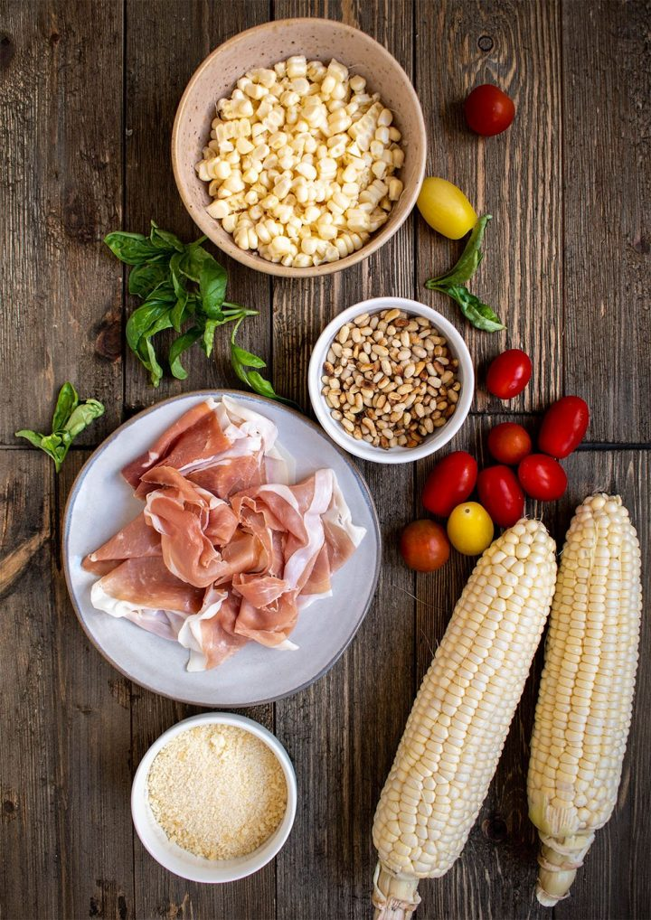 ingredients for sauce and pasta toppings
