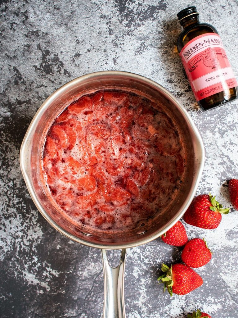 strawberry rosewater compote