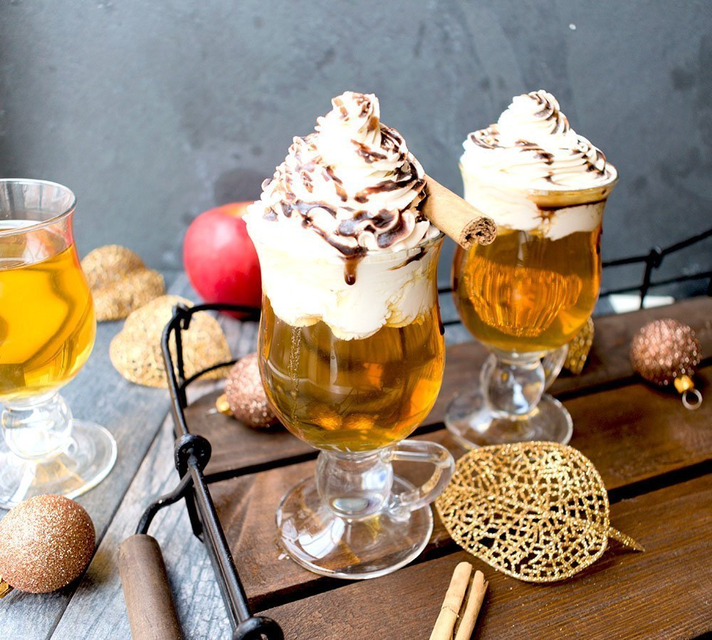 Caramel Chocolate Spiced Apple Cider with Maple Whipped Cream