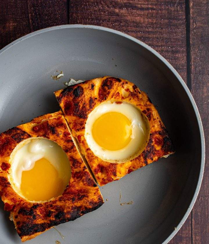 pan fry the egg in the bread