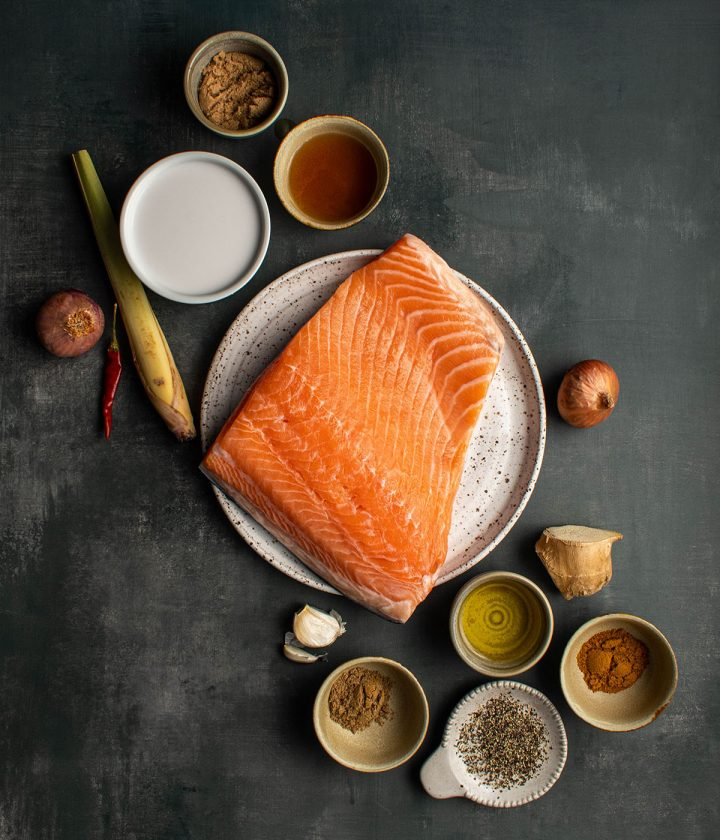 ingredients for the salmon marinade
