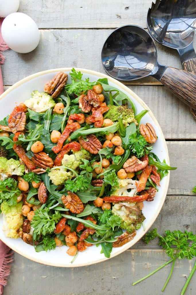 roasted chickpea romanesco arugula salad