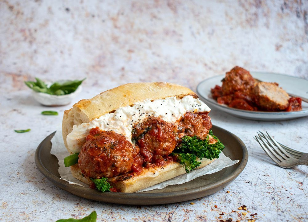 spicy meatball subs with burrata