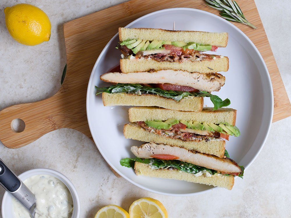 Rosemary Lemon Chicken Club Sandwich