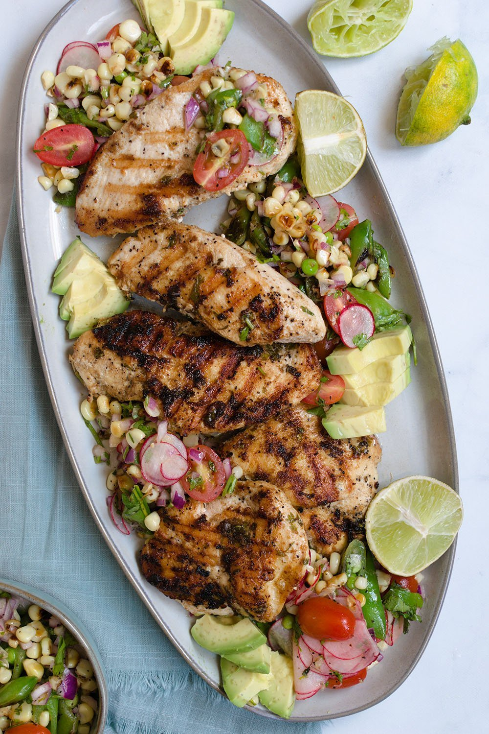 cilantro lime chicken with charred corn salsa
