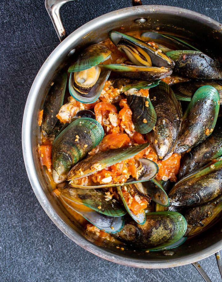 cook the mussels in sauce