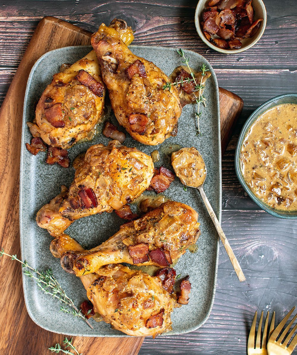 mustard chicken with bacon sauce