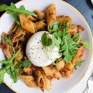 Sun-Dried Tomato Pesto Pasta with Burrata