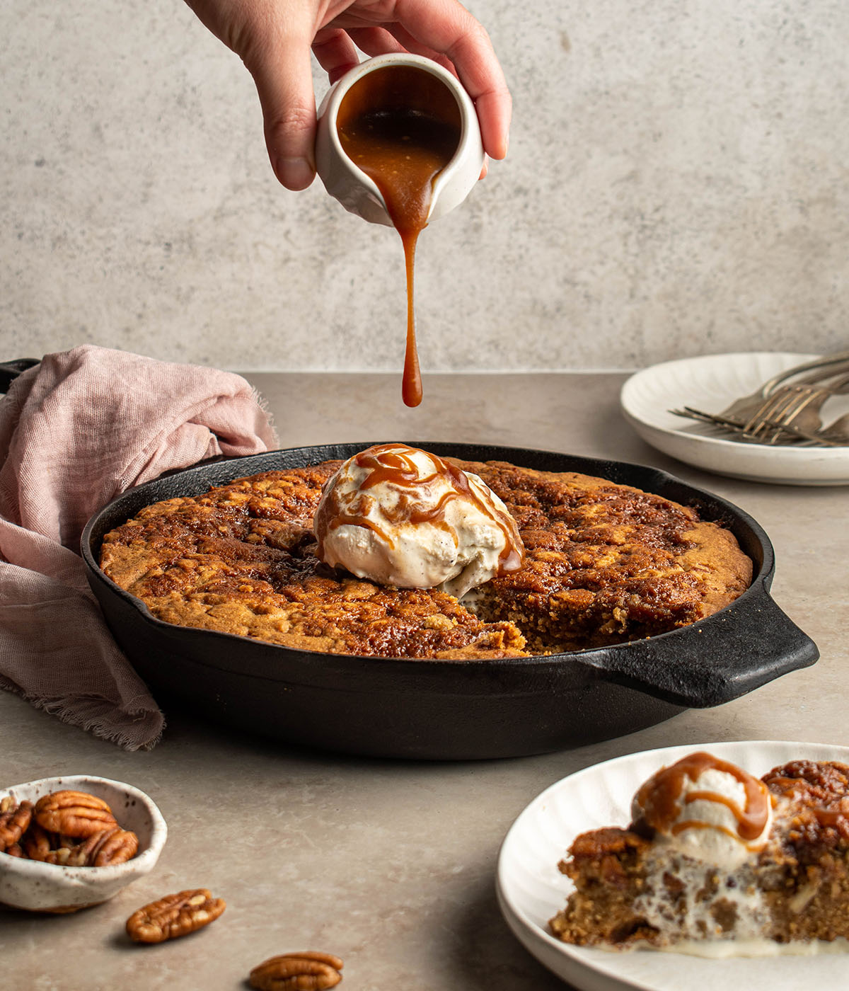 southern butter pecan skillet cookie