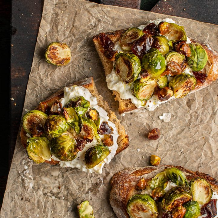 brussels sprouts and burrata crostini