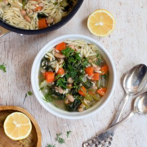 Lemony Orzo Spinach Soup