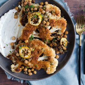 Crispy Cauliflower Steaks with Lemon Walnut Sauce