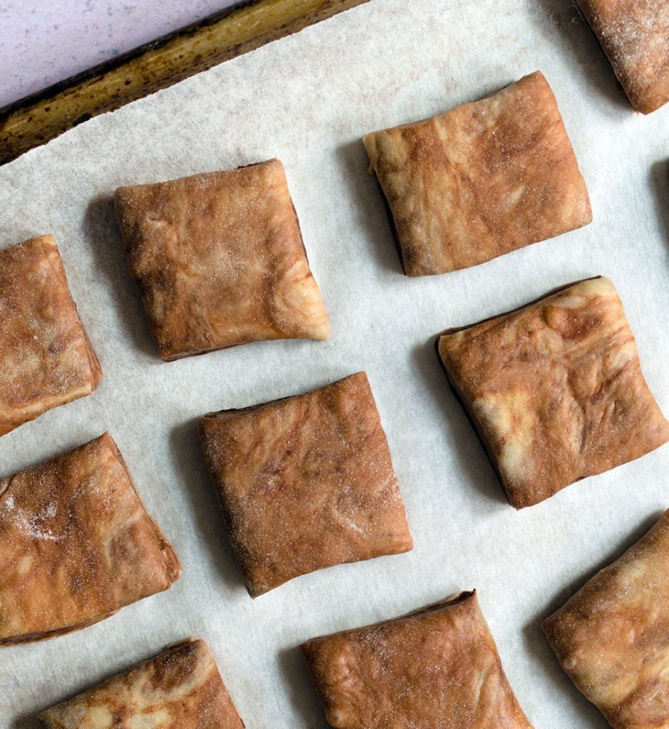 roll out chocolate dough and cut into squares