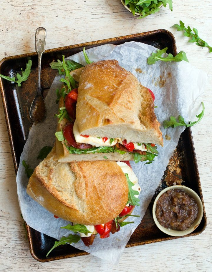 bacon tomato sandwich with apple date jam