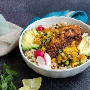 Fish Taco Bowls with Charred Mango Salsa