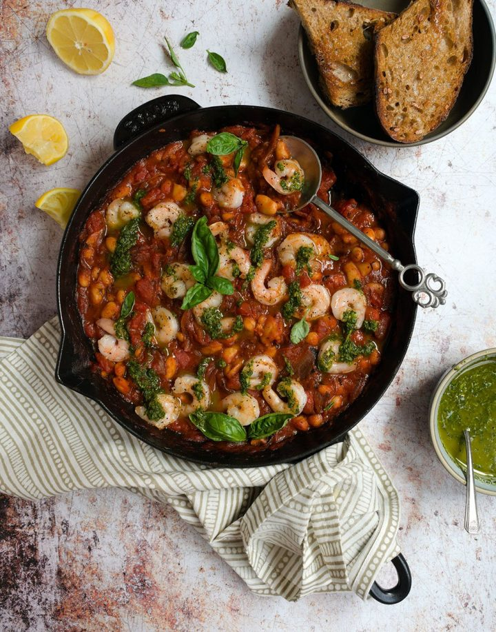 herby shrimp with tomato shallot sauce