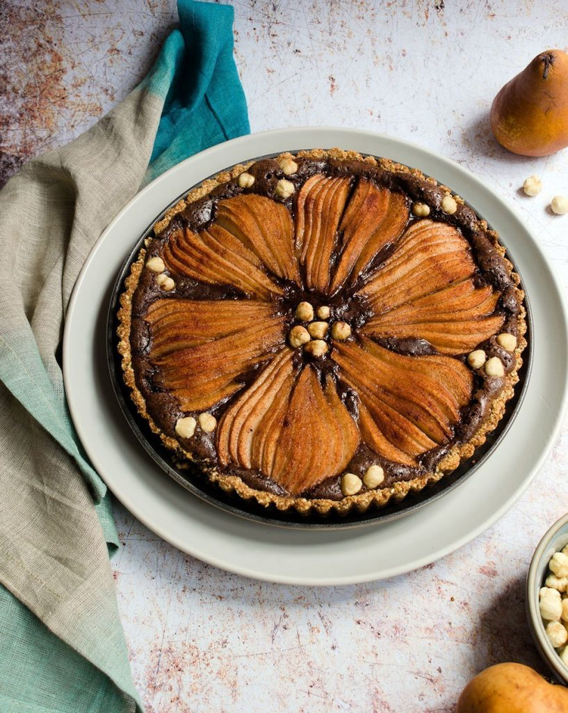 pear chocolate hazelnut tart