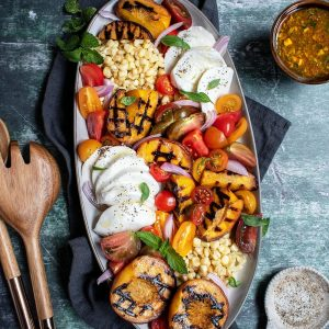 Grilled Peach, Tomato, and Corn Salad