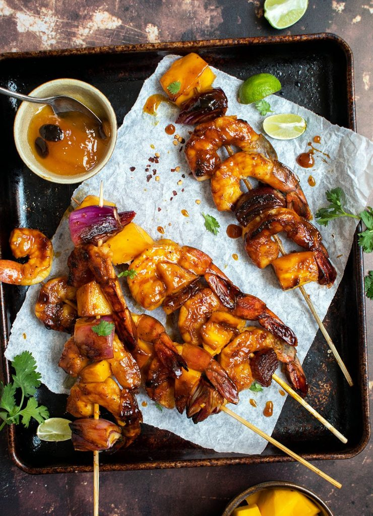 mango bbq shrimp skewers