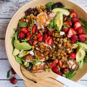 Strawberry Avocado Salad with Halloumi