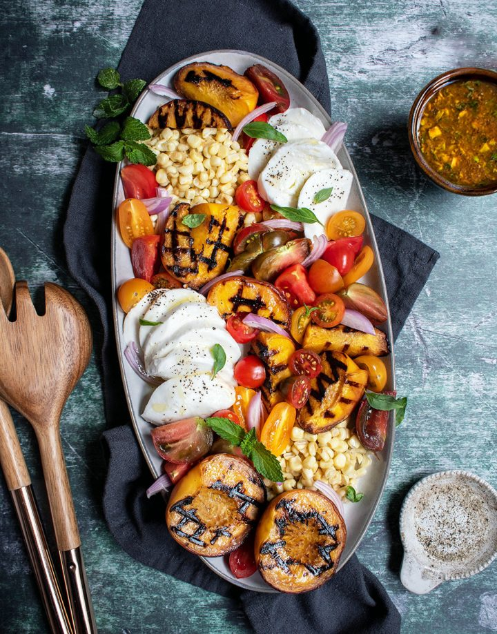 grilled peach tomato and corn salad