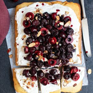 Almond Cake with Spiced Roasted Cherries