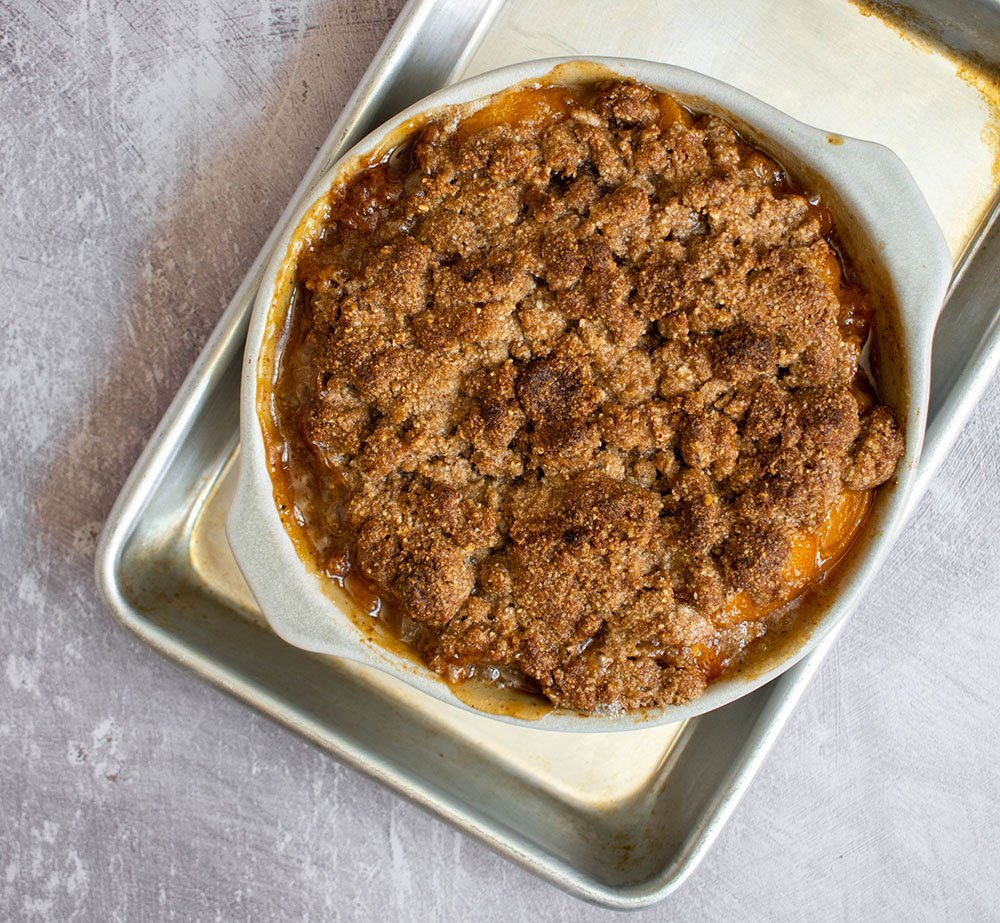 top fruit with crumble and bake