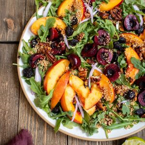 Cherry Nectarine Arugula Salad with Spiced Pecans