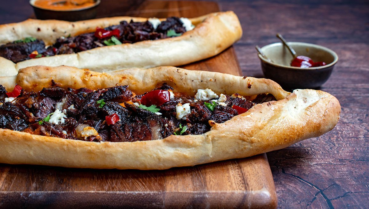 turkish pide with braised short ribs