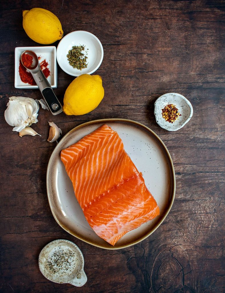 ingredients to season the salmon