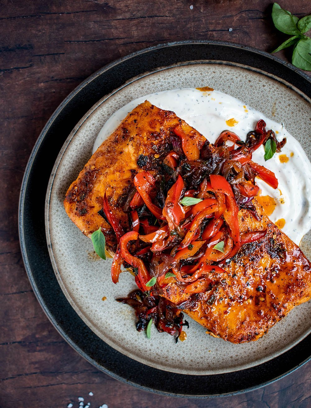 spiced salmon with caramelized onion and pepper relish