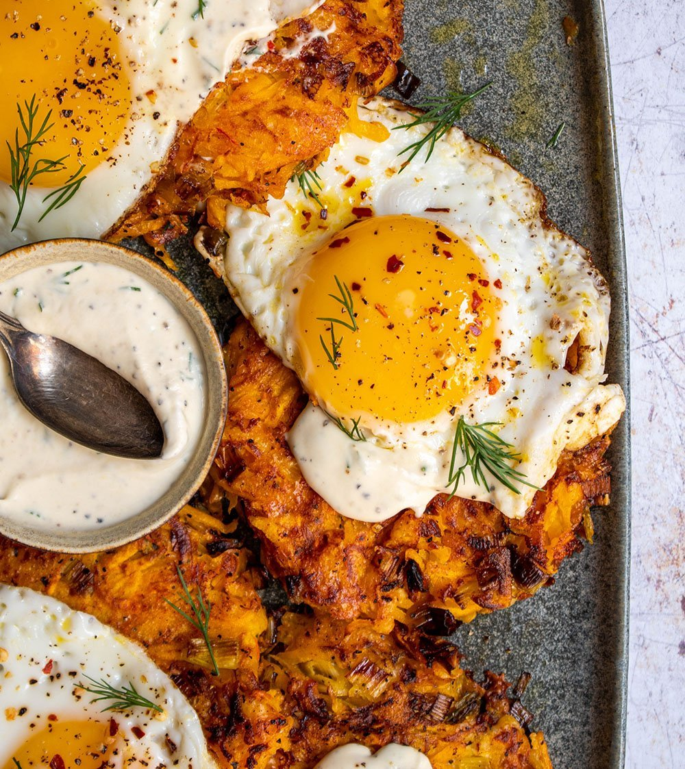 butternut squash rosti with fried eggs