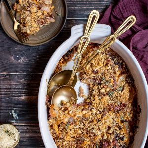 Savory Pear Gratin with Prosciutto Gruyere Breadcrumbs