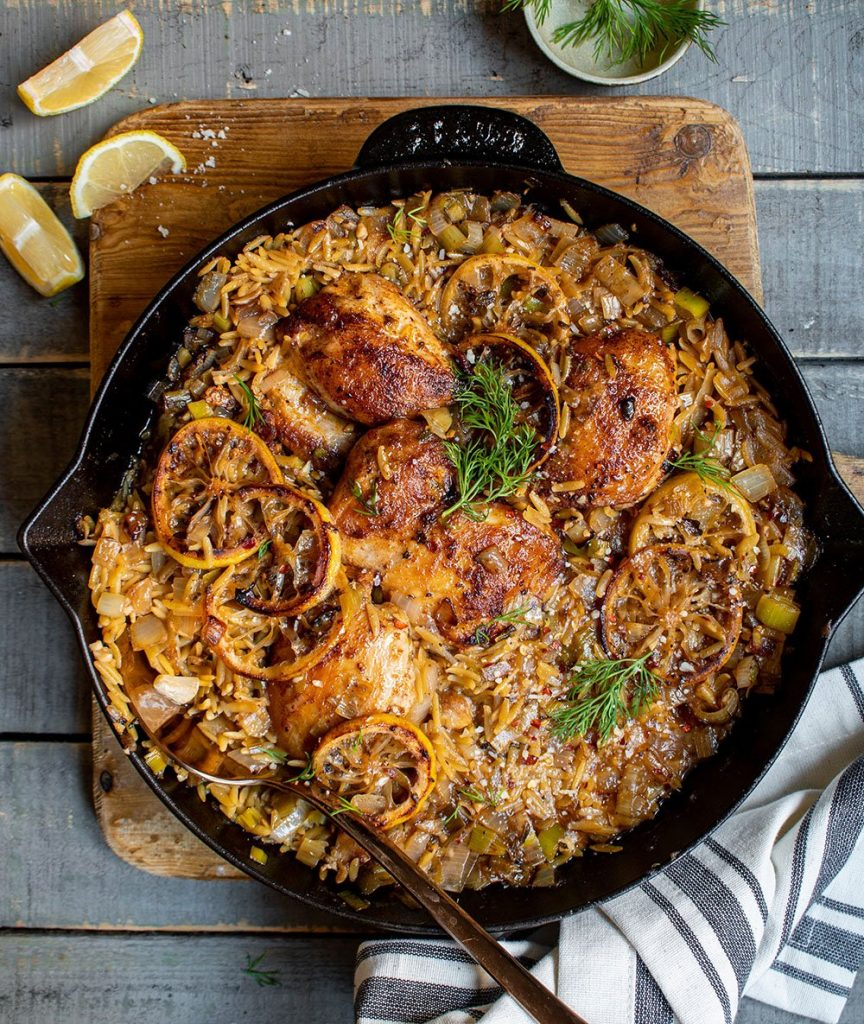 one skillet lemony chicken with orzo