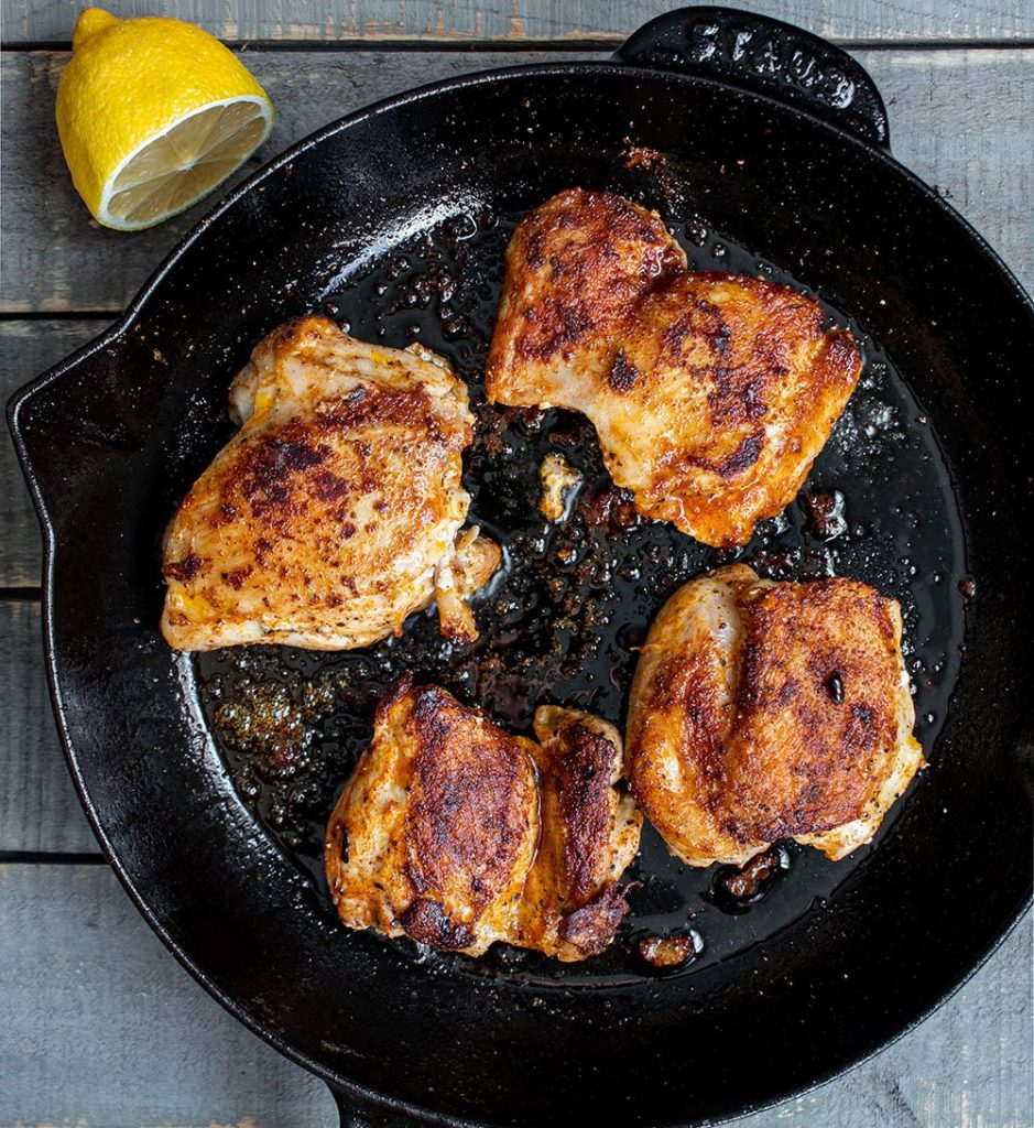 sear the spiced chicken