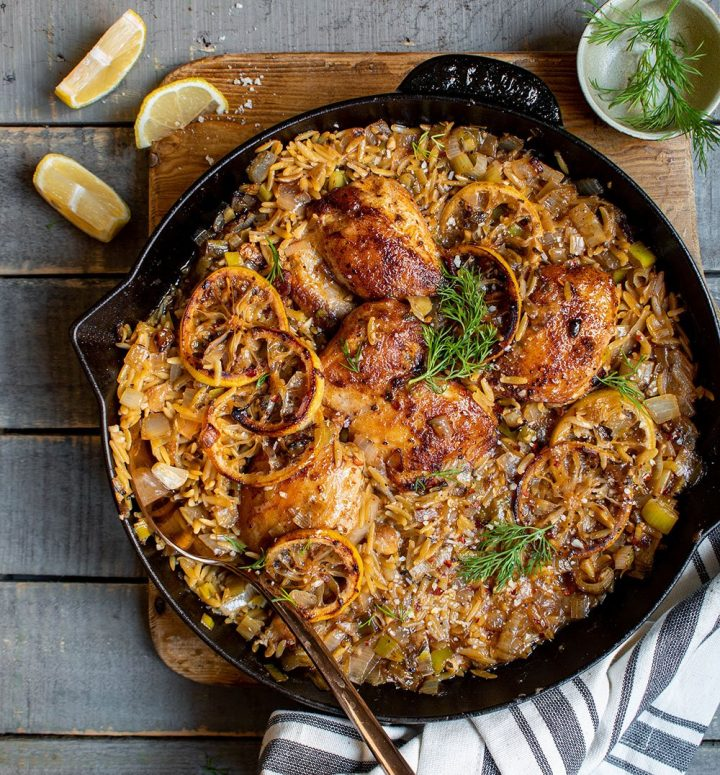 one skillet lemony chicken and orzo