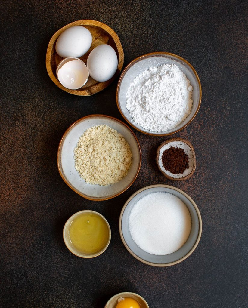 ingredients for the coffee macarons