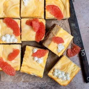Grapefruit Curd Cheesecake Bars