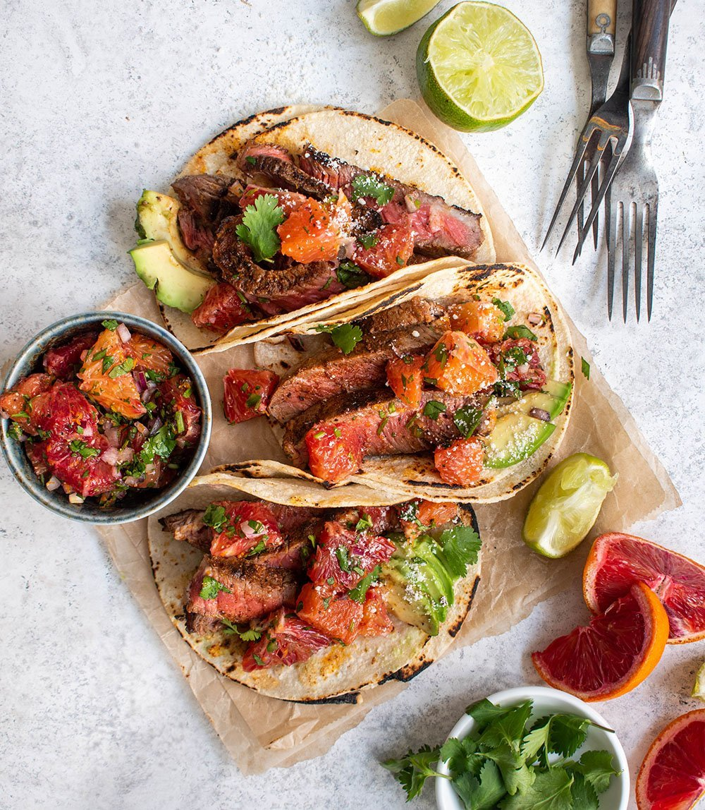 steak tacos with blood orange salsa