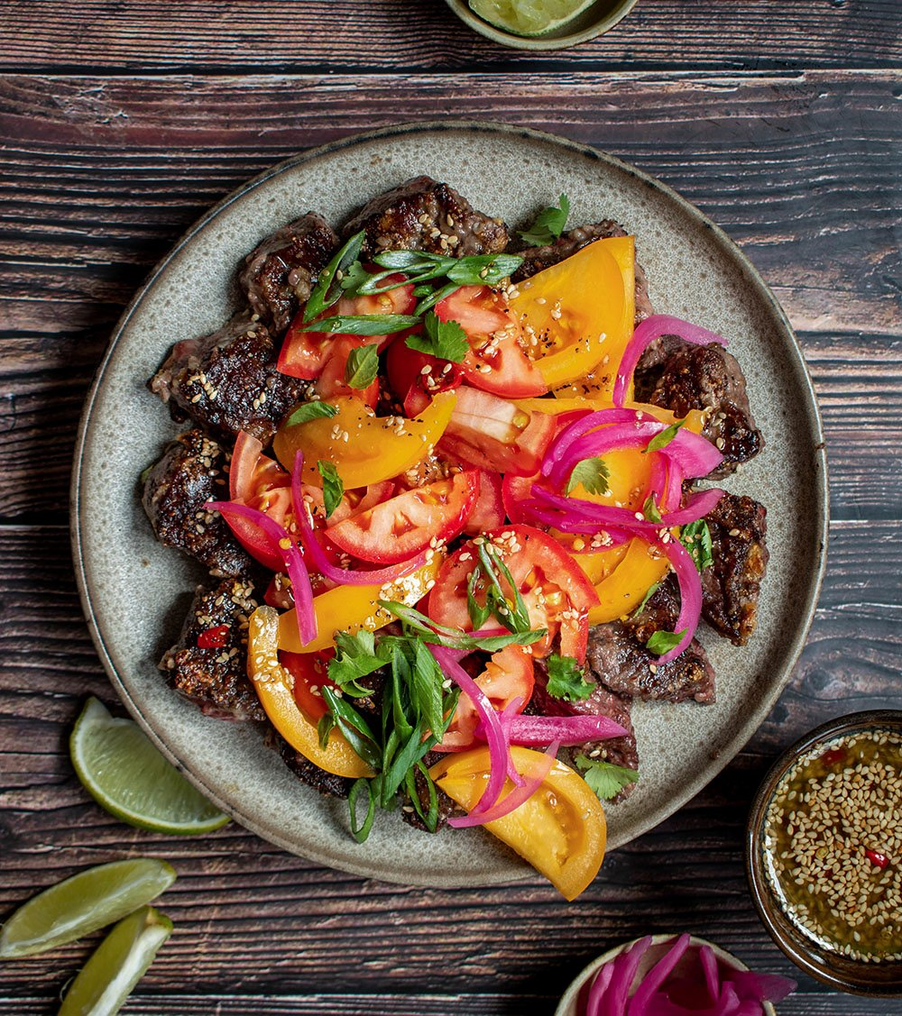 sesame ginger beef with tomatoes