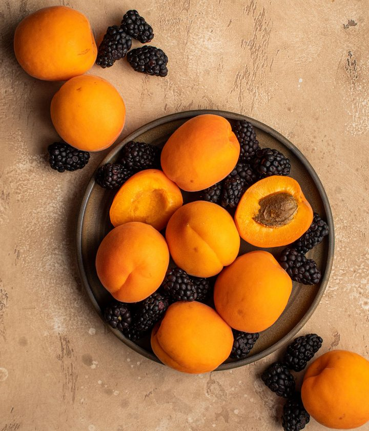 fresh apricots and blackberries