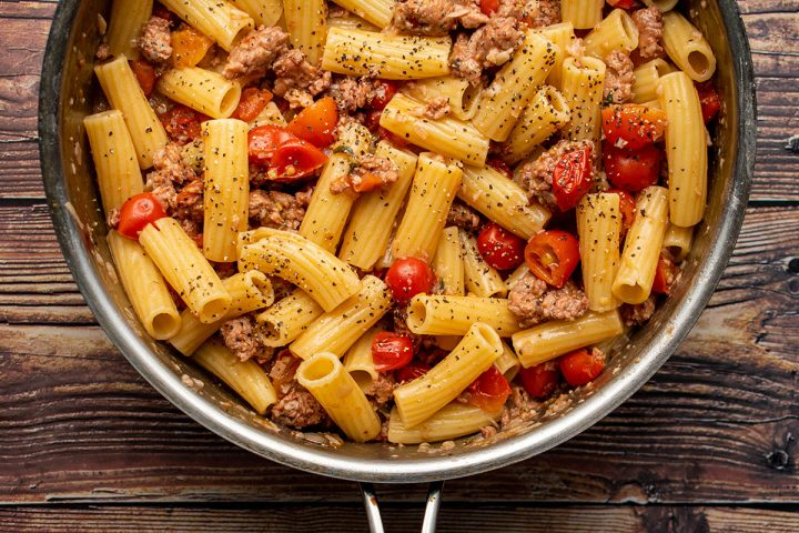 add pasta and simmer together