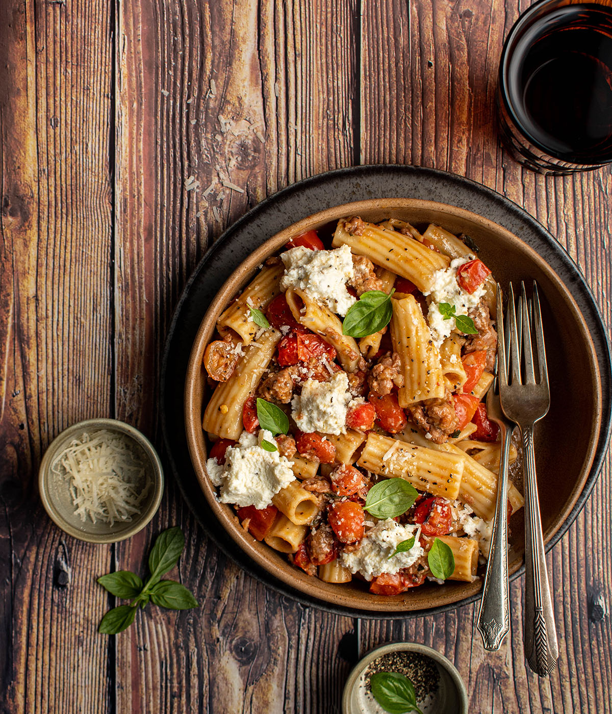 sausage bolognese pasta with ricotta